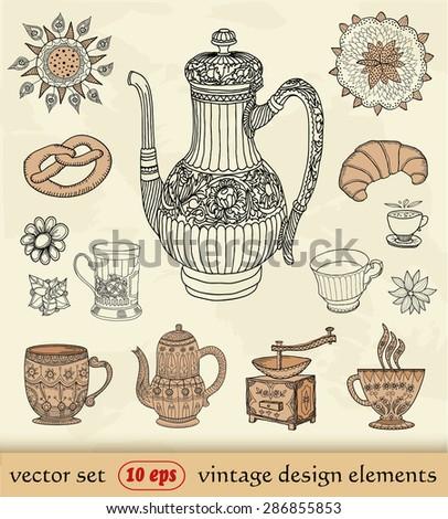 vintage set. coffee - stock vector
