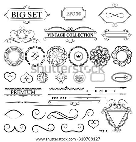 Vintage set decor elements for menu. Elegance old hand drawing set. Outline ornate swirl leaves, label, border elements, shield and decor elements in vector. Sketch for writer, wedding or restaurant. - stock vector