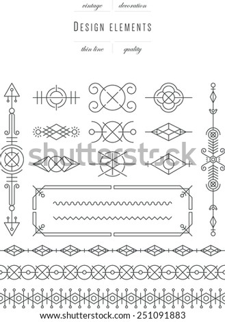 Vintage set - design elements, thin line ( variable line width ) - stock vector