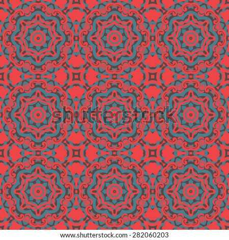 Vintage set elements for seamless vector patterns. Floral geometric ornament - stock vector