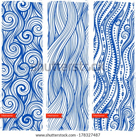 Vintage set of banners with ethnic waves can be used as a greeting card - stock vector