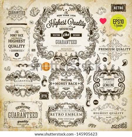 Vintage set of calligraphic design elements: page decoration, Premium Quality and Satisfaction Guarantee Label, antique and baroque frames | Old paper texture background, footprints of a cup of coffee - stock vector