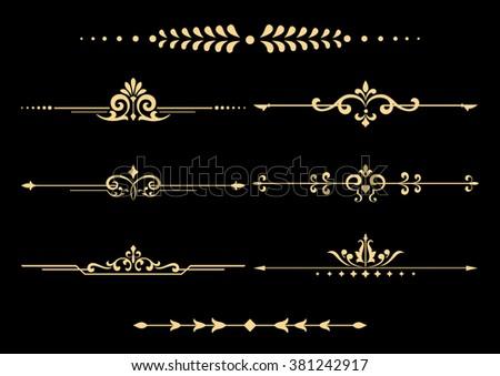 Vintage set of decorative elements. Golden separators on a black background. - stock vector