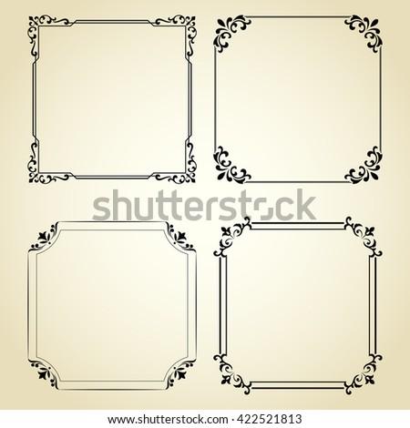 Vintage set of decorative frames. Graphic design in vintage style. - stock vector