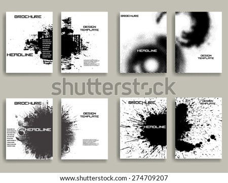 Vintage Set Of Different Grunge Textured Brochures . Retro Flyers , Banners , Posters with Ink Blots , Halftone Dots and Distress Textures . Black and White Patterns in Grungy Style . - stock vector