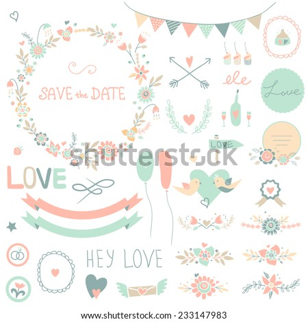 Vintage set of floral frames and compositions. Cute retro flowers arranged a shape of the wreath. Perfect for wedding invitations and romantic cards.  - stock vector