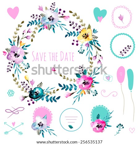 Vintage set of frames and compositions. Cute retro flowers arranged a shape of the wreath. Perfect for wedding invitations and romantic cards. Watercolor isolated vector.  - stock vector