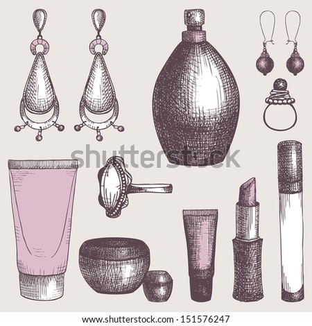 Vintage set of  graphic cosmetics and jewelry elements. Vector collection with fashion elements. - stock vector