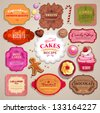 Vintage set of grunge stickers, labels and tags for coffee or bakery - stock vector