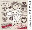 Vintage set of heart design elements. Retro calligraphy collection for wedding invitations. Vector set of love symbols for Valentine's Day. - stock vector