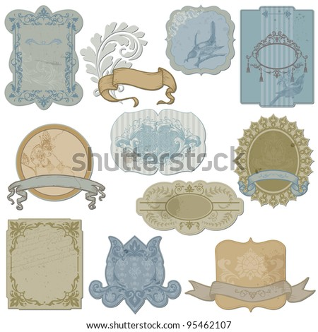 Vintage Set of Labels and Tags - in vector - stock vector