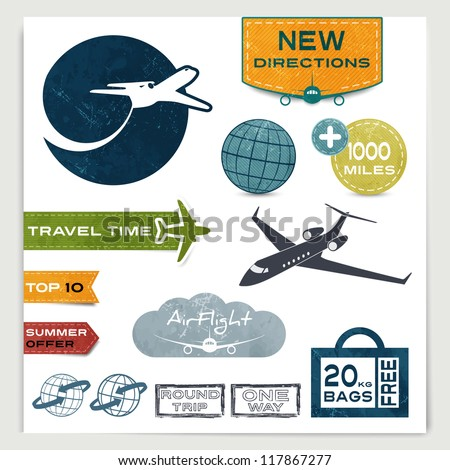 Vintage set of labels with airplanes for aviation company and travel - stock vector