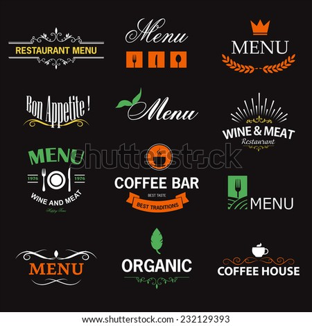 Vintage set of restaurant signs, symbols, logo elements and icons. Decorations collection for restaurant menu. - stock vector