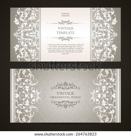 Vintage set of template ornamental borders and patterned background. Elegant lace wedding invitation design, Greeting Card, banner - stock vector