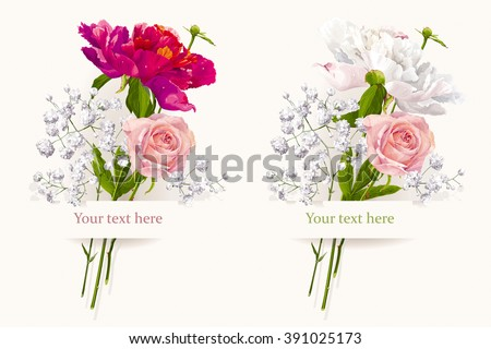 Vintage set of two summer flowers bouquets for Valentine's Day, wedding, sales and other events painted in watercolor style - stock vector