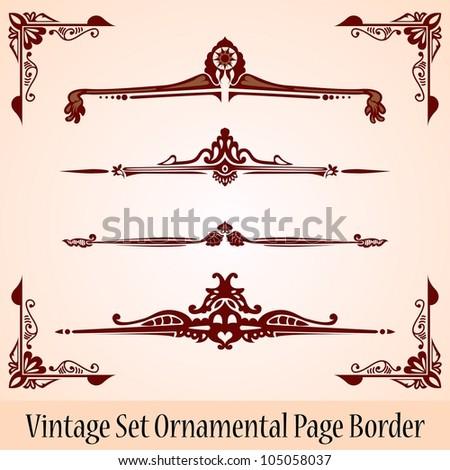 vintage set page border - stock vector