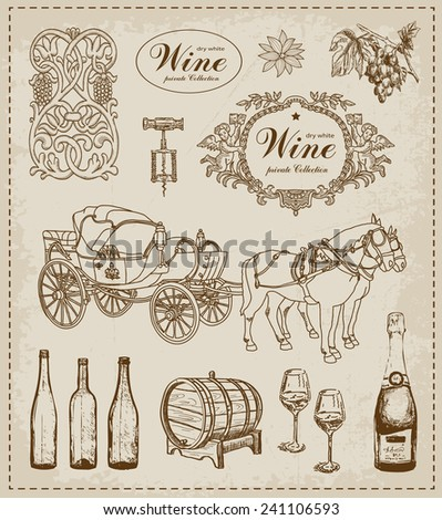 Vintage set. Wine - stock vector