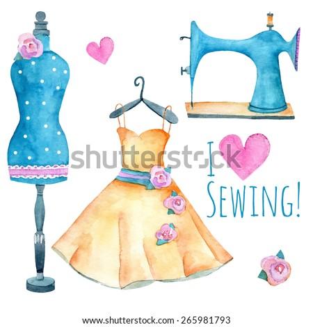 Vintage sewing machine, dress and fashion mannequin isolated on white. Watercolor vector illustration for your design.  - stock vector