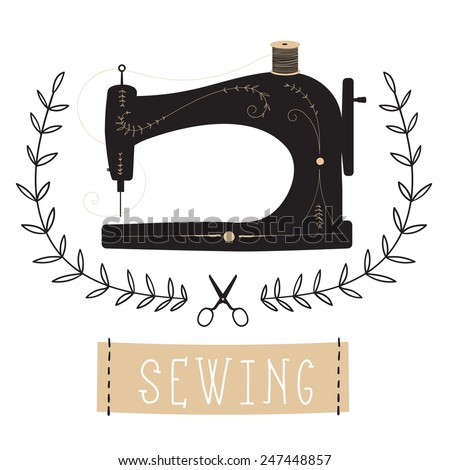 Vintage Sewing Machine vector Illustration - stock vector