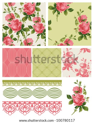 Vintage Shabby Chic Rose Seamless Patterns.  Use to create fabric projects such as quilting or home textiles. - stock vector