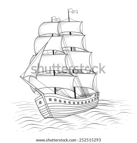 vintage ship with sails and the sea on a white background - stock vector