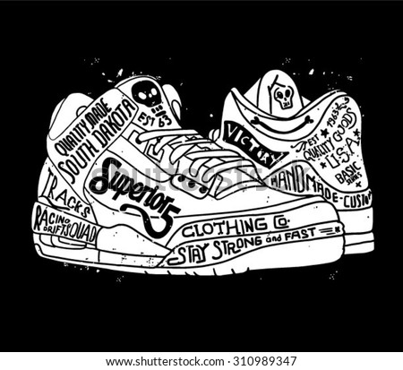 vintage shoes with type  - stock vector