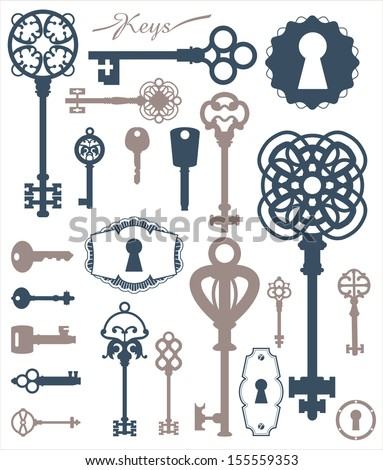 Vintage silhouette keys_beautiful silhouette keyholes_decorated frame_decorative items_4 - stock vector