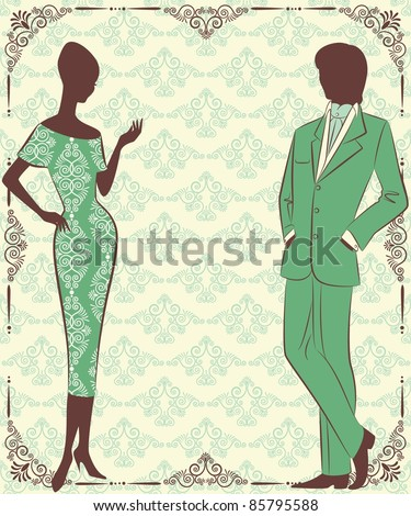 Vintage silhouette of girl with man. - stock vector