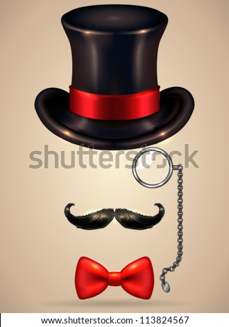 Vintage silhouette of top hat, mustaches, monocle and a bow tie - vector illustration. Shadow and background are on separate layers. Easy editing. - stock vector