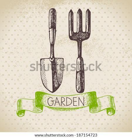 Vintage sketch gardening background. Hand drawn design  - stock vector