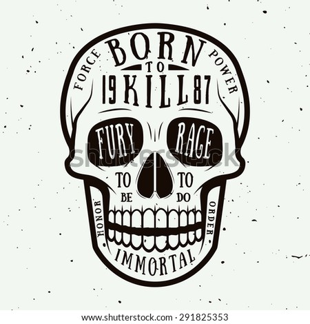 Vintage skull label, emblem and logo. Vector illustration - stock vector