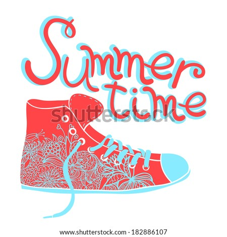 Vintage sneakers with floral element. Summer time. Vector illustration. - stock vector