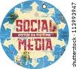 vintage social media sign or button, grungy - stock vector