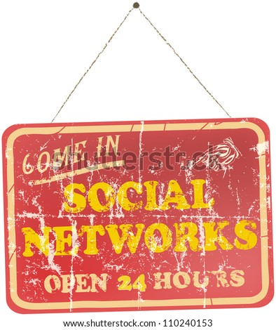 vintage social networks sign, hanging - stock vector
