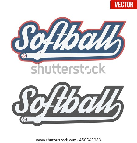 Vintage softball labels and badges. Symbol of sport or club with shield and tag. Vector Illustration isolated on white background. - stock vector