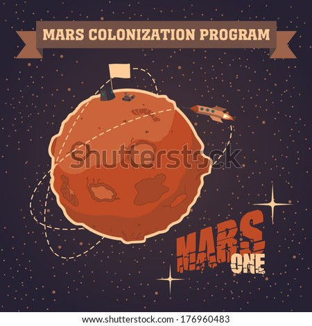 Vintage space postcard of the day of landing humans on Mars. The first humans on Mars - the Martian colonization project - stock vector