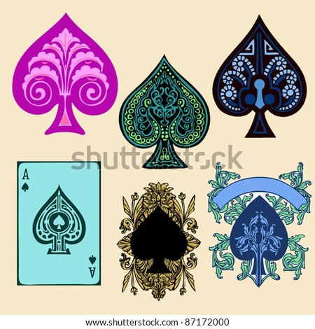 Vintage Spade style poker playing cards, vector - stock vector