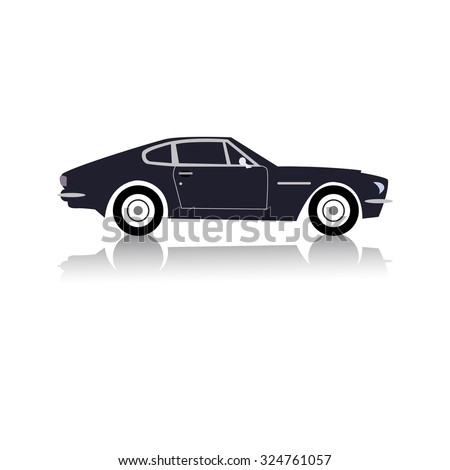 Vintage sport racing car. Vector. - stock vector