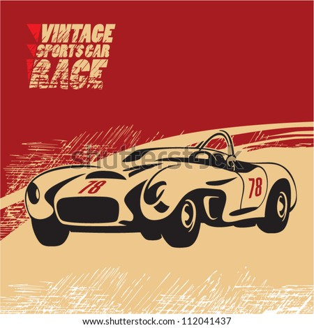 vintage sports car race - stock vector