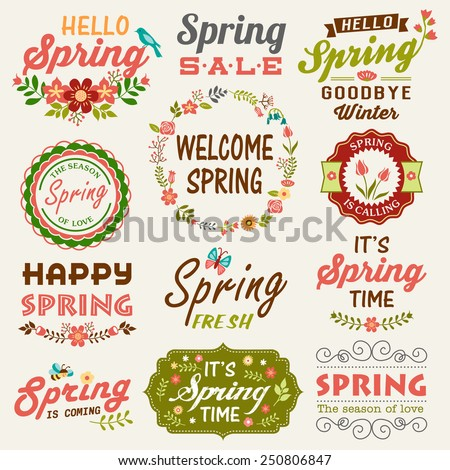 Vintage Spring typography design with labels, icons elements collection - stock vector