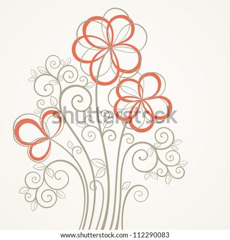 Vintage square flower card. Abstract flower vector illustration. - stock vector