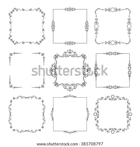 Vintage square frames set isolated on white. - stock vector