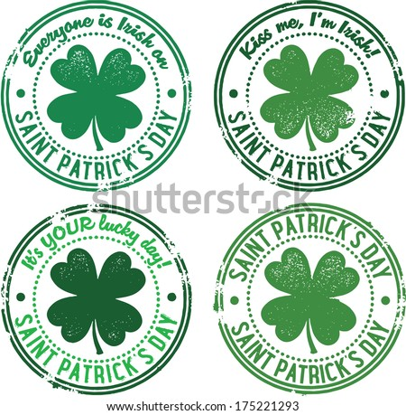 Vintage St. Patrick's Day Rubber Stamps - stock vector