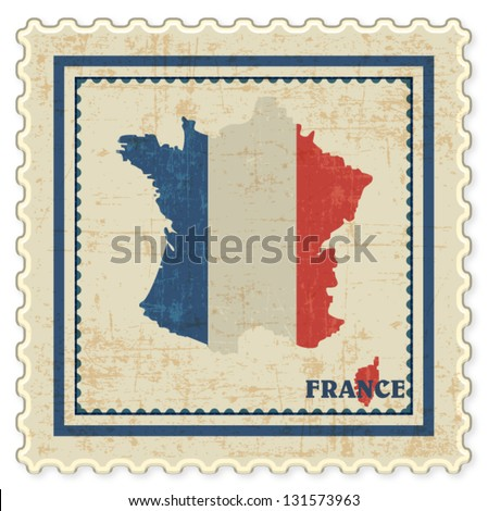 VINTAGE STAMP WITH FRANCE MAP BACKGROUND VECTOR - stock vector