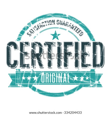 Vintage Stamp with grunge Certified sign - stock vector