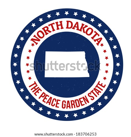 Vintage stamp with text The Peace Garden State written inside and map of North Dakota, vector illustration - stock vector