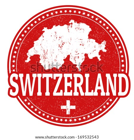 Vintage stamp with world Switzerland written inside and map of Switzerland, vector illustration - stock vector