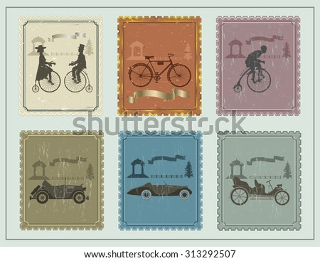 vintage stamps for your cards on the green table. vintage stamp depicting bicycles, cars and a young couple on a green background. A away arbor, a fence and a tree   - stock vector