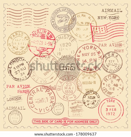 Vintage Stamps Set - Set of vintage stamps with frame.  EPS10 file with transparency. - stock vector