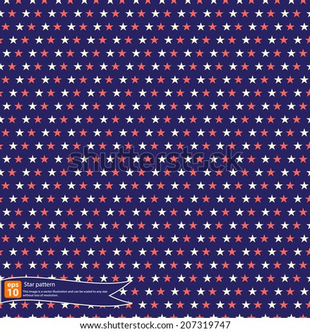 Vintage star pattern vector design, Seamless polka dot pattern with stars in american national flag color gamut. - stock vector